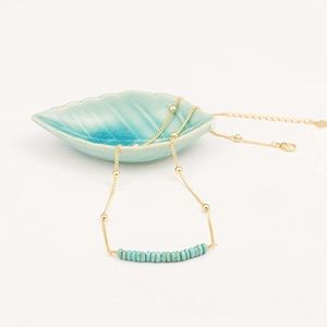 18K Gold Chain Turquoise Beads Necklace